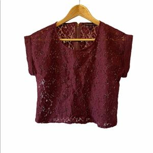 NWOT MATERIAL GIRL Burgundy Lace Cropped Top S